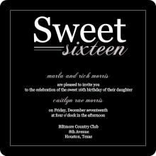 Black Modern Sweet 16th Birthday Invitation