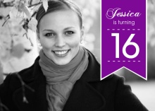 Purple Banner 16th Birthday Invitation