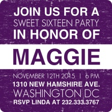 Purple News Flash 16th Birthday Invitation
