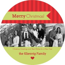 Bright Stripes Circle Christmas Photo Card