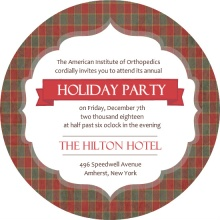 Plaid Business Holiday Party Invite