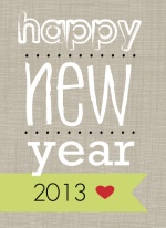 Gray Linen Bold New Years Card