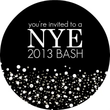 Black and White Circle New Years Invitation