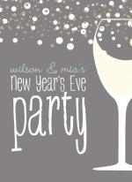Silver Champagne Bubbles New Years Invite