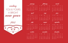 Simple Red Elegance Calendar New Years Card