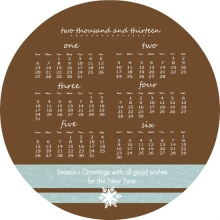 Brown Linen Business Calendar Holiday Card