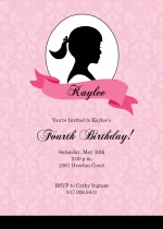 Girls Silhouette Birthday Party Invitation