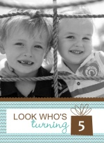 Twins Birthday Party Quad Fold Invite