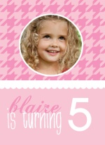 All Pink Houndstooth Birthday Invitations