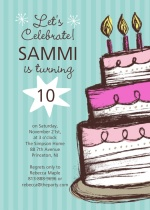 Hand Drawn Cake Birthday Party Invite