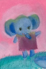 Cute Baby Elephant Artist Card