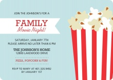 Popcorn Family Movie Night Invitations