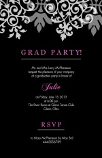 Black Flourish Graduation  Invitation