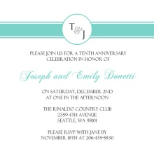 Sweet Monogram  Anniversary Party Invitation