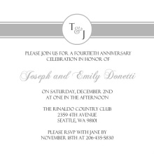 Silver Monogram Anniversary  Anniversary Party Invitation