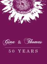 Purple and White Sunflower Anniversary Invitation