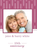 Hanging Willow Pink and White Anniversary Invitation
