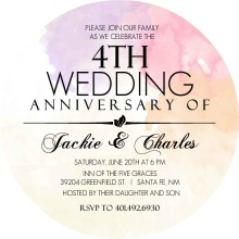 Colorful Watercolor 4th Anniversary Invitation