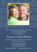 Decorative Flourish White and Navy 50th Anniversary Invitation