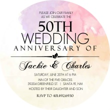 Colorful Watercolor 50th Anniversary Invitation