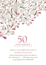 Pink Floral 50th Anniversary Party Invitation
