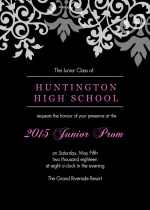 Black and Gray Flourish Prom Invitation