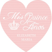 Pink Crown Heart Quinceanera  Invitation