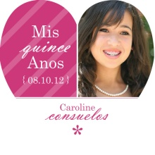 Pink and White Stripes  Quinceanera Invitation