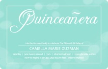Turquoise and White Bubbles Quinceanera Invitation