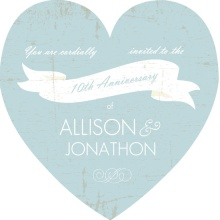 Blue and white Banner Anniversary Invitation