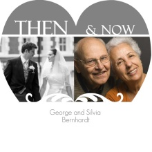 Now and Then Grey Heart Anniversary Invitation