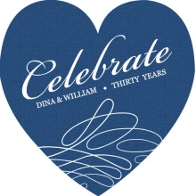 Blue and White Swirl Anniversary Invitation