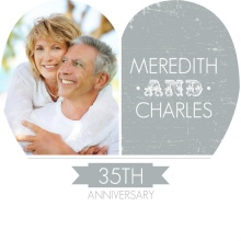 Gray and White Modern Heart 35th Anniversary Invitation