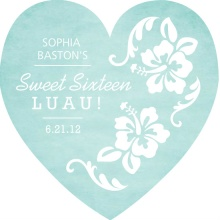 Turquoise and White Floral Luau Invitation