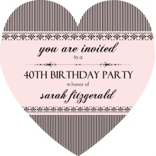 French Striped Pink 40th Birthday Invitation