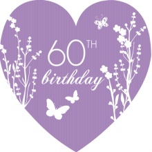 Purple Garden Party 60th Birthday Invitation