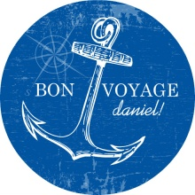 Blue and White Nautical Bon Voyage Party Invite