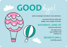 Hot Air Balloons  Farewell Party Invite