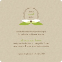 Taupe and Green Leaf Monogram Housewarming Party Invitation