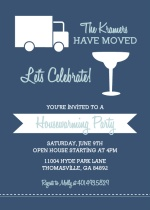 Blues Moving Truck and Cocktail Housewarming Invitation