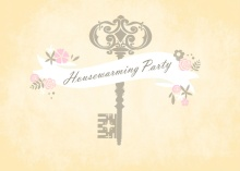 Antique Floral Banner Housewarming Invite