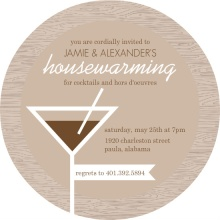 Brown Wood Grain and Martini Housewarming Invitation