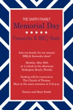 Blue Stripe Memorial Day Invitation