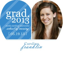 Graduation Announcement Blue Stripe Heart