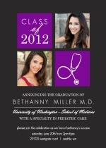 Purple Med School Grad Invite