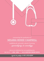 Pink Scrubs Nursing School  Graduation Invitation
