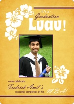 Gold Luau Graduation Invitation
