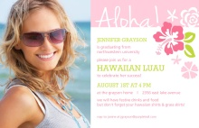Graduation Invitation Pink Hawaiian