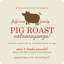 Burlap Brown and Red Pig Roast BBQ Invite