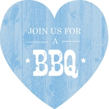 Blue Wood Texture Barbecue Invitation
